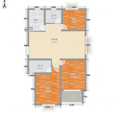 新城府翰苑3室0厅2卫1厨104.00㎡户型图
