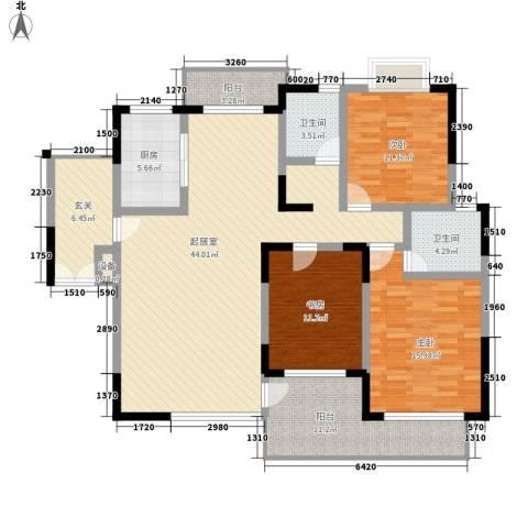 商城世纪村3室0厅2卫1厨136.00㎡户型图