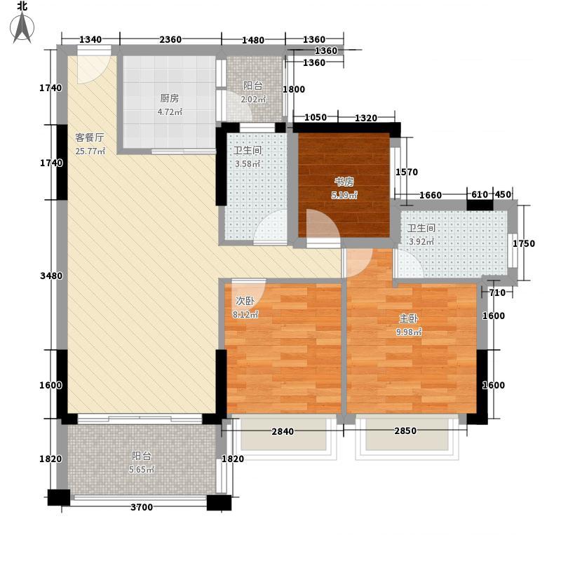 钜隆风度盛荟广场1.71㎡5栋03户型3室2厅2卫1厨