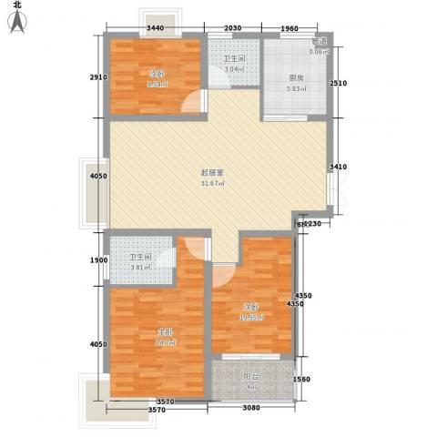 新城府翰苑3室0厅2卫1厨93.60㎡户型图