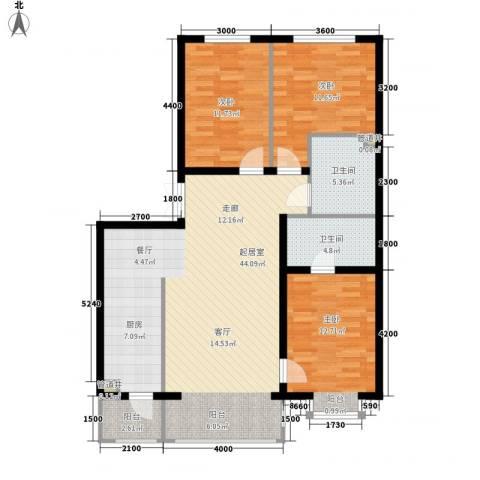 松浦观江国际3室0厅2卫0厨93.15㎡户型图