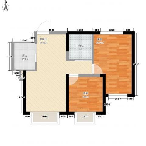 渤海山水云天2室1厅1卫1厨73.00㎡户型图