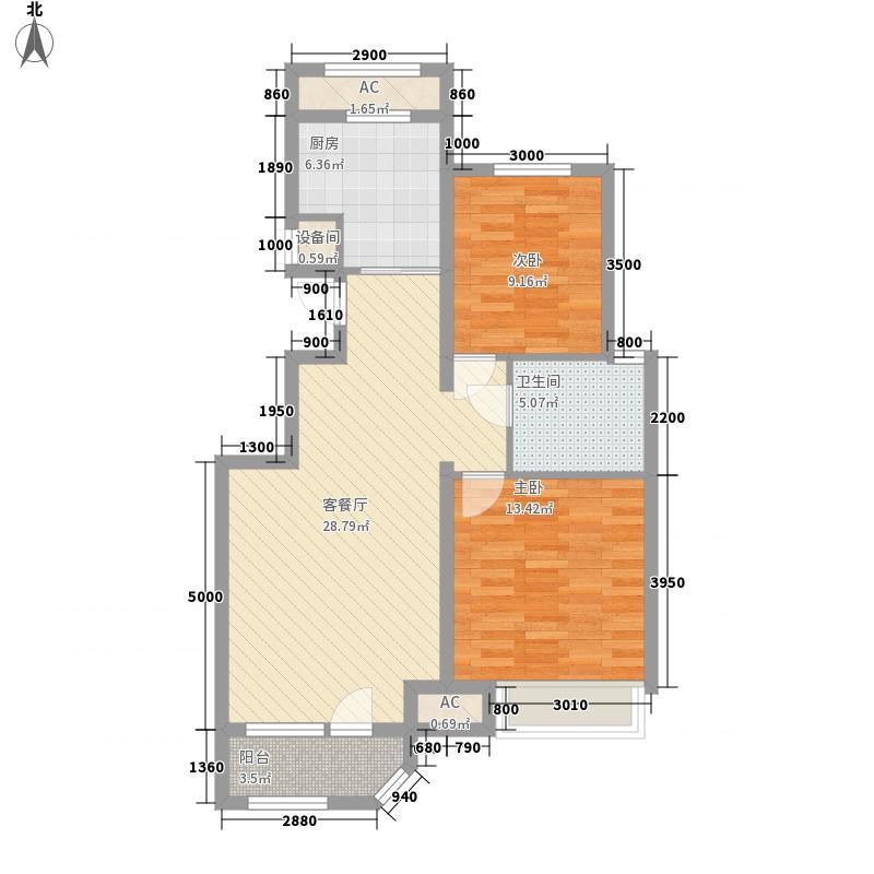 金地褐石小镇2.00㎡28#楼1层小高层户型2室2厅1卫1厨