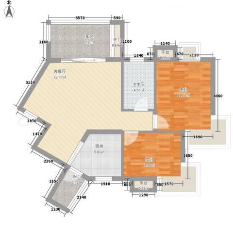 国信世家2室1厅1卫1厨90.00㎡户型图