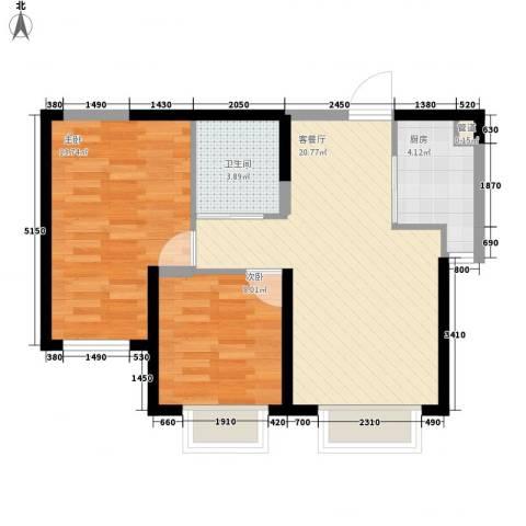渤海山水云天2室1厅1卫1厨72.00㎡户型图