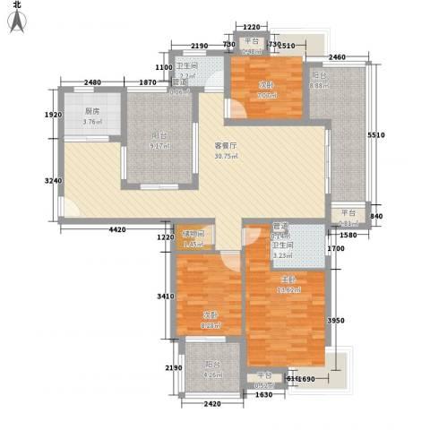 国信世家3室1厅2卫1厨140.00㎡户型图