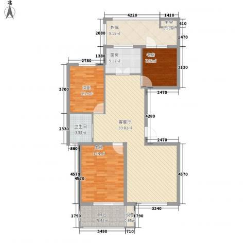 紫晶环球3室1厅1卫1厨127.00㎡户型图