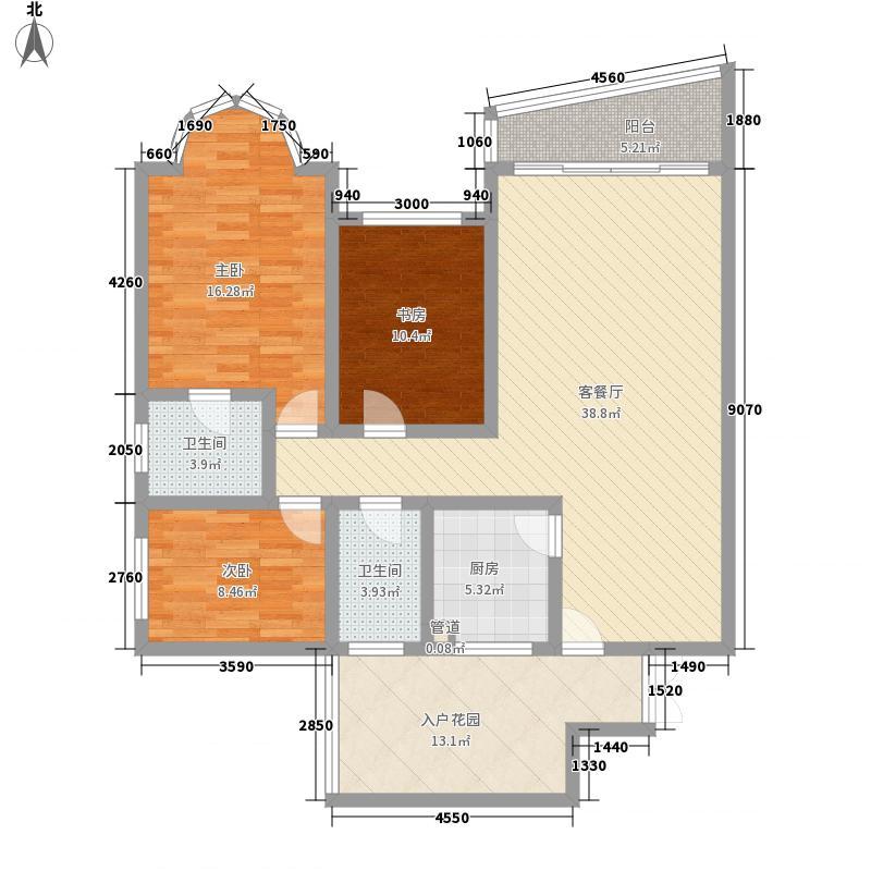 卧龙山庄124.35㎡六号楼标准层F1户型3室2厅2卫1厨