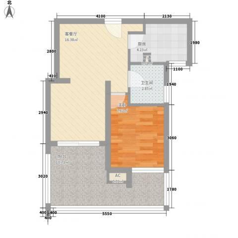 康桥水都1室1厅1卫1厨62.00㎡户型图