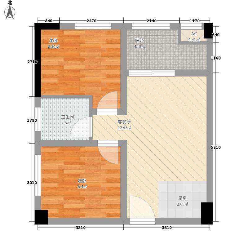 银座金典64.47㎡北向B1户型2室2厅1卫1厨