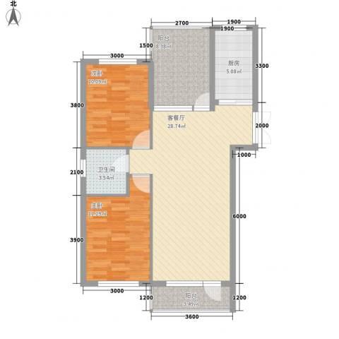 中凯梦之城2室1厅1卫1厨99.00㎡户型图