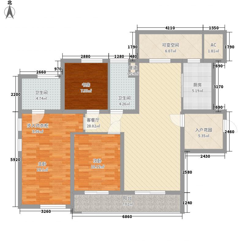 财富中心143.00㎡标准层D户型3室2厅2卫1厨