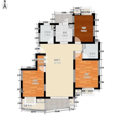 澳丽映象嘉园3室1厅2卫1厨125.00㎡户型图