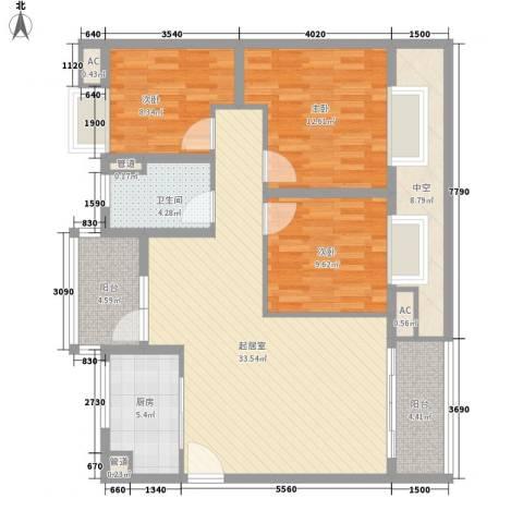御花园3室0厅1卫1厨134.00㎡户型图