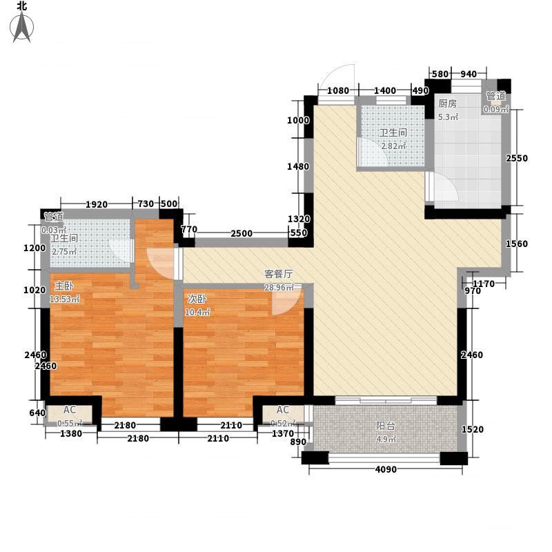 正祥梧桐水岸102.10㎡F-2户型2室2厅2卫1厨