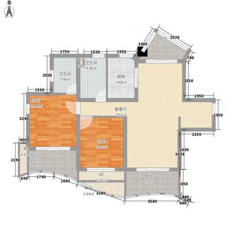 康桥水都2室1厅2卫1厨115.00㎡户型图
