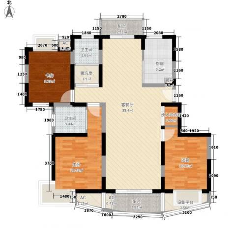 澳丽映象嘉园3室1厅2卫1厨136.00㎡户型图