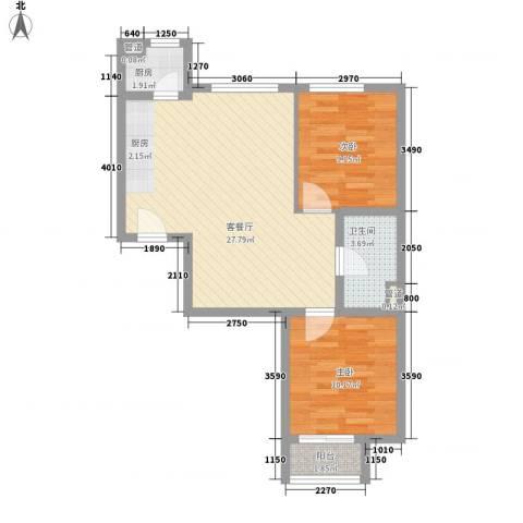 水岸荣华2室1厅1卫1厨79.00㎡户型图