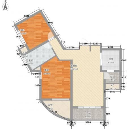 康桥水都2室1厅1卫1厨107.00㎡户型图