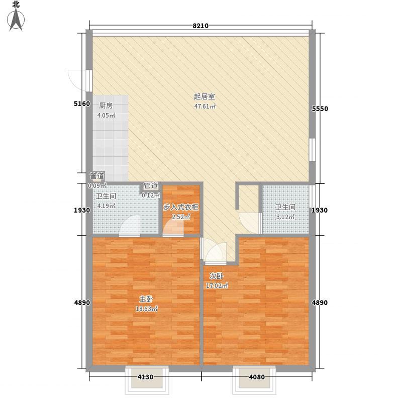 中信太湖城135.00㎡现代中式户型2室2厅2卫