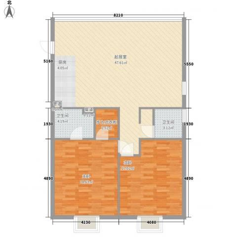 中信太湖城2室0厅2卫0厨135.00㎡户型图