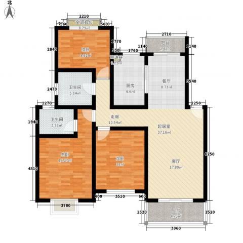 恒泰雅居3室0厅2卫1厨116.00㎡户型图