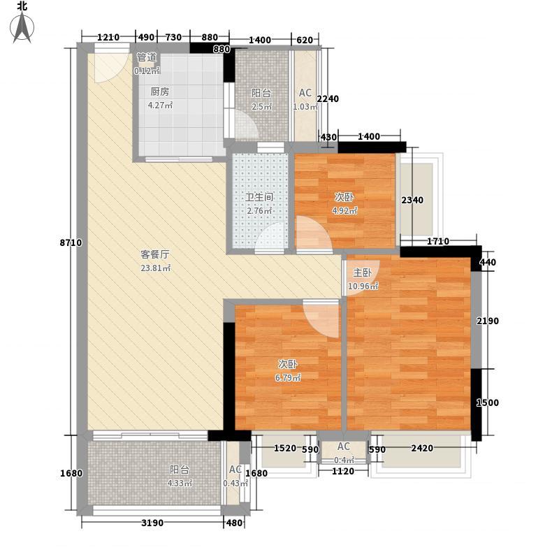 千色美湖花园户型图B1栋01户型 3室2厅1卫1厨