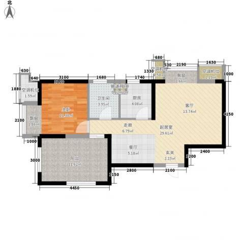 金地滨河国际社区1室0厅1卫1厨65.00㎡户型图