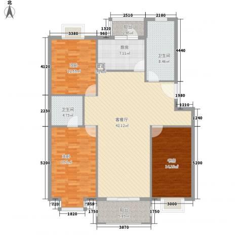 多友大厦3室1厅2卫1厨158.00㎡户型图