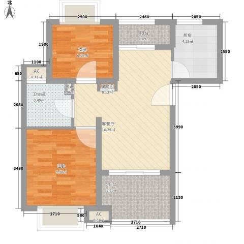 康桥水都2室1厅1卫1厨72.00㎡户型图