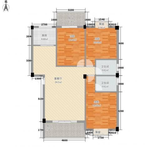 盛祥现代城3室1厅2卫1厨114.00㎡户型图
