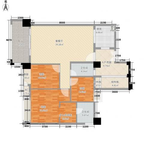 虎门地标3室1厅2卫1厨175.00㎡户型图