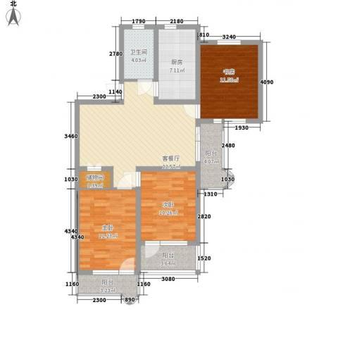 由由园中苑3室1厅1卫1厨117.00㎡户型图