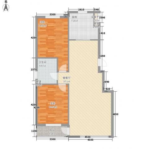 华誉・金御蓝湾2室1厅1卫1厨101.00㎡户型图