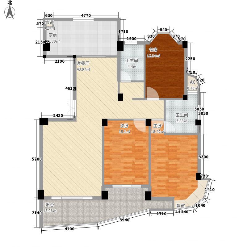 蓝湾景天134.64㎡蓝湾景天户型图6#01单元3室2厅2卫1厨户型3室2厅2卫1厨