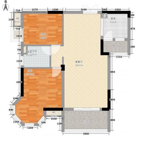 中兴和园2室1厅1卫1厨88.00㎡户型图