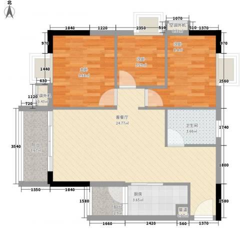 嘉逸花园宽派3室1厅1卫1厨91.00㎡户型图