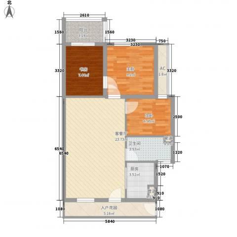 保亭庄园丽都3室1厅1卫1厨94.00㎡户型图