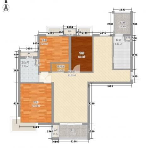 十里都华3室1厅1卫1厨122.00㎡户型图