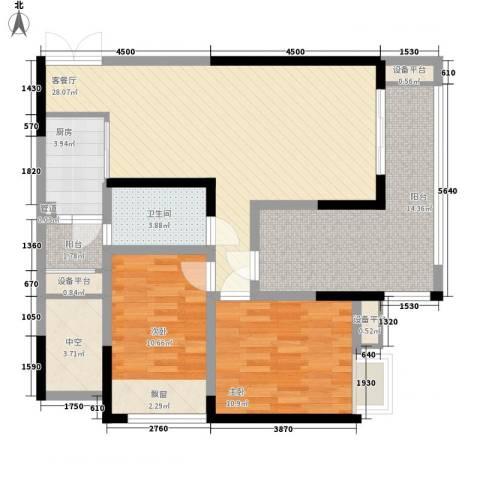 华宇绿洲2室1厅1卫1厨116.00㎡户型图