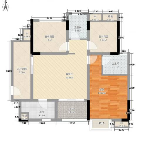 招商花园城1室1厅2卫1厨76.18㎡户型图