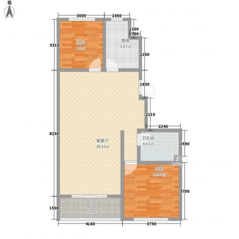 金山文汇2室1厅1卫1厨106.00㎡户型图