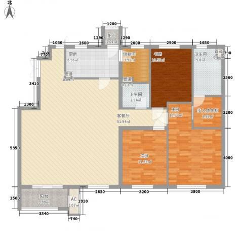 鹭岭3室1厅2卫1厨156.00㎡户型图