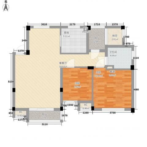 逸流公寓2室1厅1卫1厨102.00㎡户型图