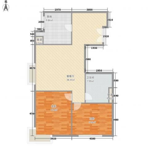 协信天骄俊园2室1厅1卫1厨120.00㎡户型图