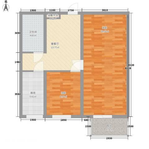 兰亭文苑2室1厅1卫1厨96.00㎡户型图