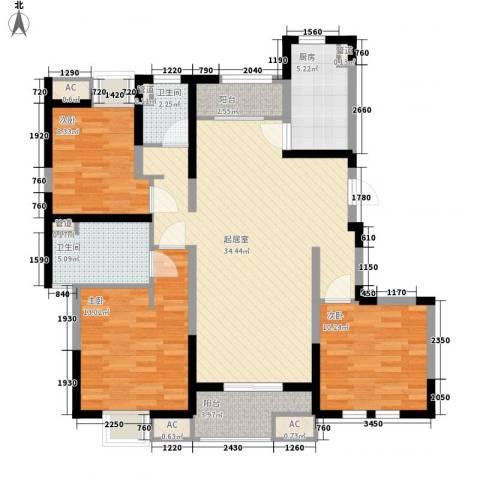 大华锦绣华城公园新纪3室0厅2卫1厨127.00㎡户型图