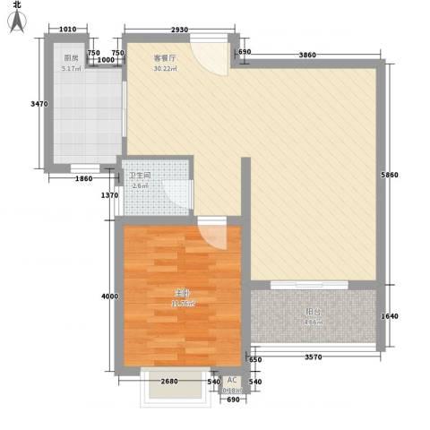 阳光四季园1室1厅1卫1厨78.00㎡户型图