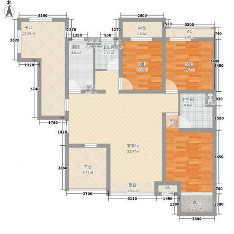 华夏第九园・兰亭3室1厅2卫1厨101.94㎡户型图