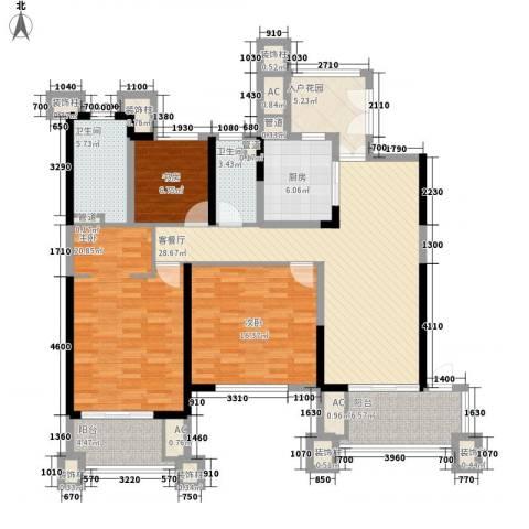 天隆・三千海3室1厅2卫1厨138.00㎡户型图